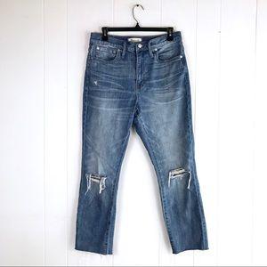 Madewell High Rise Slim Leg Boy Jeans w/ Raw Hem